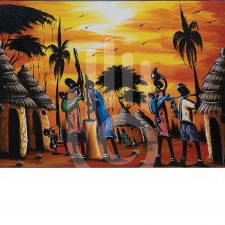 African Homestead Painting