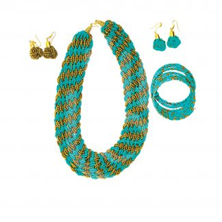 Crafts With Meaning_Handmade Jewellery_Teal and Gold Beaded Jewellery Set